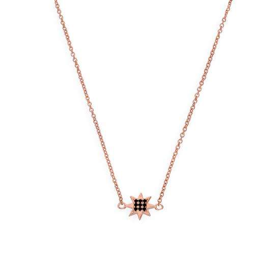 Rose Gold Plated Sterling Silver & Black CZ Crystal 18 Inch Star Necklace