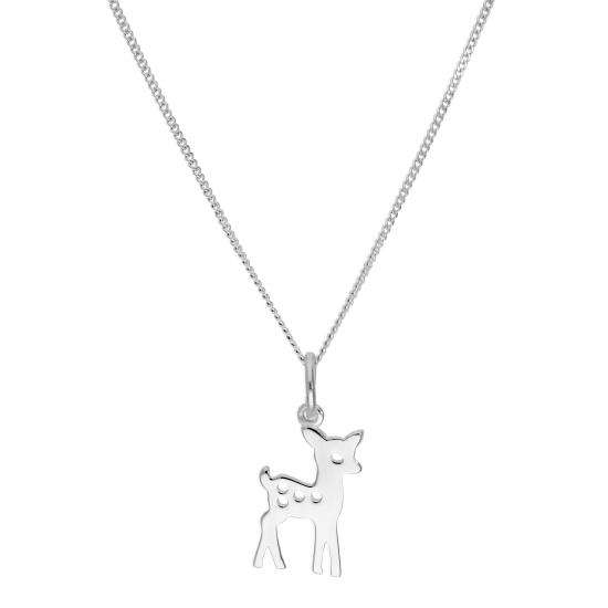 Sterling Silver Deer Pendant Necklace 16 - 22 Inches