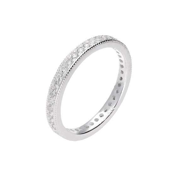 Sterling Silver & CZ Crystal Full Eternity Ring