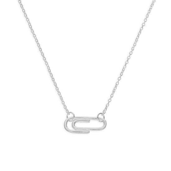 Sterling Silver Paperclip 18 Inch Necklace