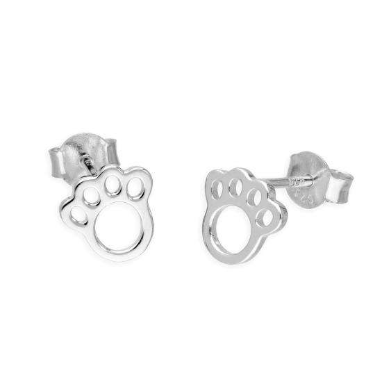 Sterling Silver Animal Pawprint Stud Earrings