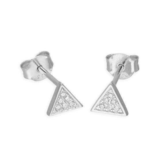 Sterling Silver & Clear CZ Crystal Triangle Stud Earrings