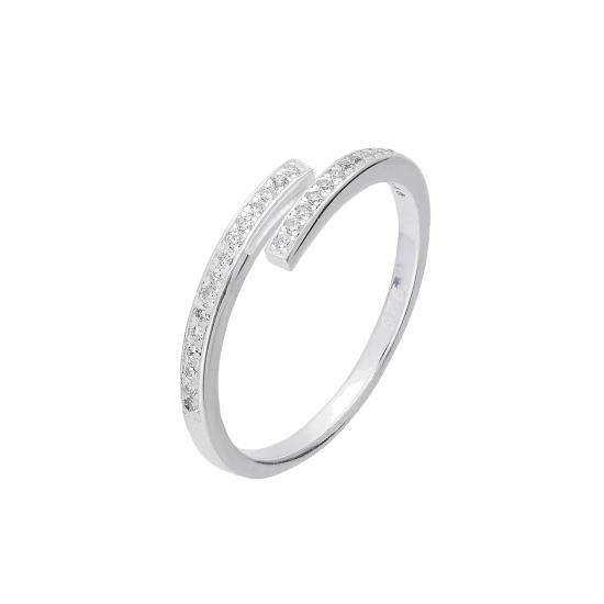 Sterling Silver & Clear CZ Crystal Adjustable Ring