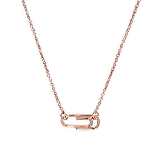 Rose Gold Plated Sterling Silver Paperclip 18 Inch Necklace