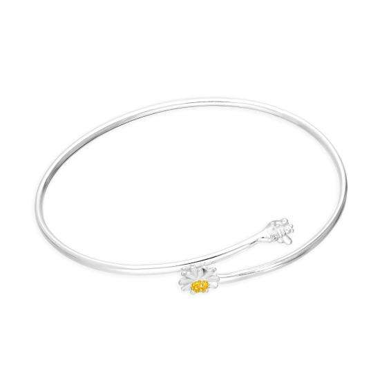 Sterling Silver Daisy & Bee 62mm Adult Bangle