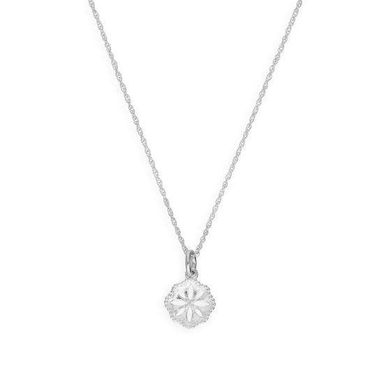 Sterling Silver Cut Out Flower Pendant Necklace 16 - 22 Inches
