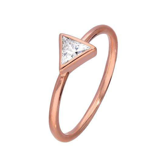 Rose Gold Plated Sterling Silver & CZ Crystal Triangle Ring Size J - W