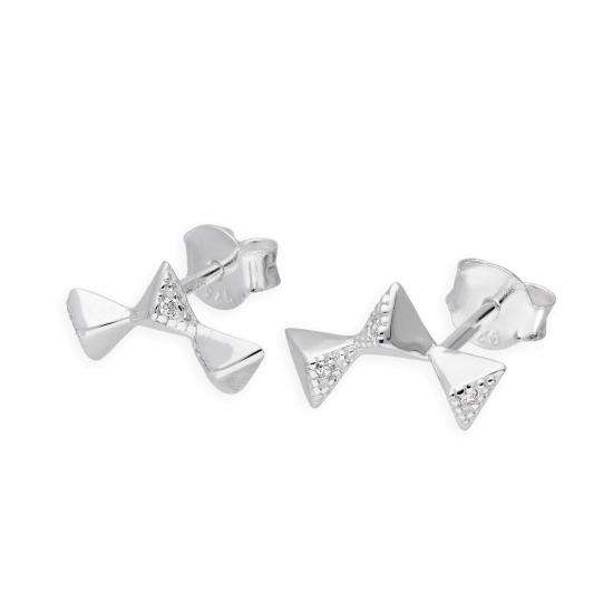 Sterling Silver & Clear CZ Crystal String of Triangles Stud Earrings