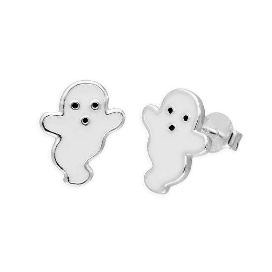 Sterling Silver White Ghost Stud Earrings