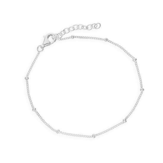 Sterling Silver 7.5 Inch Bracelet w Fixed Beads