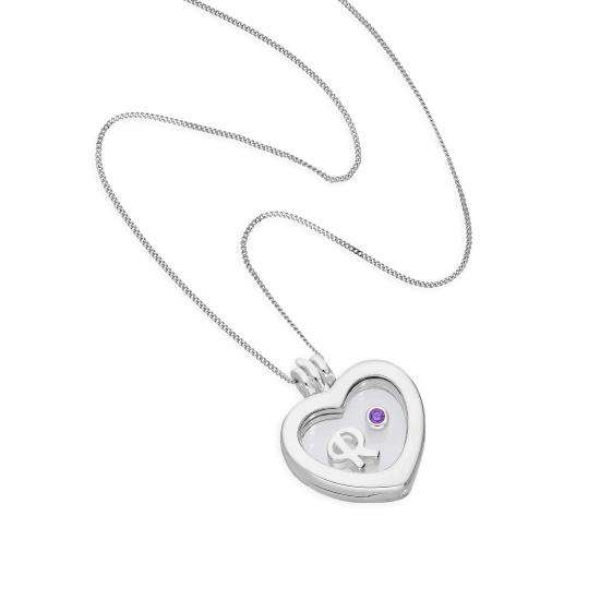 Small Floating Letter & Birthstone Charm Heart Locket in Sterling Silver