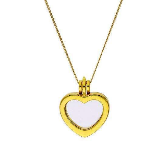 Small Gold Plated Sterling Silver Heart Floating Charm Locket on Chain 16 - 32 Inches