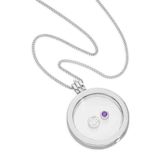 Large Floating Number & Birthstone Charm Round Locket in Sterling Silver