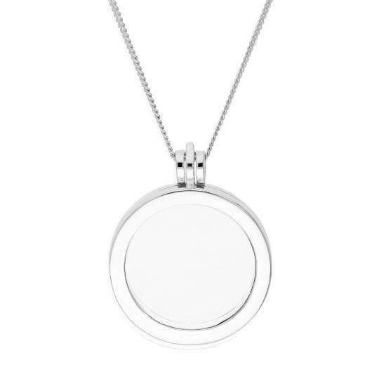 Large Sterling Silver Round Floating Charm Locket on Chain 16 - 24 Inches
