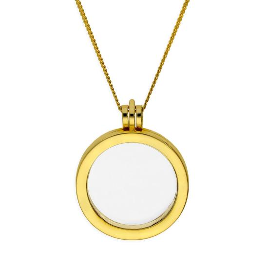 Large Gold Plated Sterling Silver Round Floating Charm Locket on Chain 16 - 24 Inches