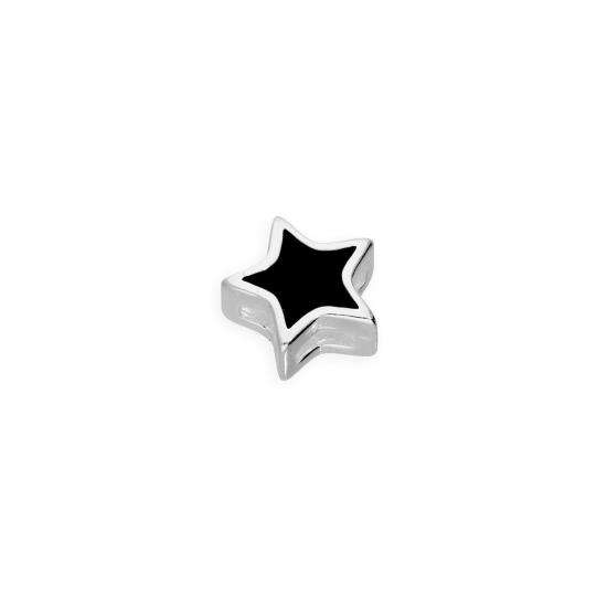 Sterling Silver & Black Enamel Floating Star Charm