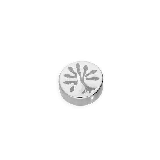 Sterling Silver Floating Round Charm w Cut Out Tree