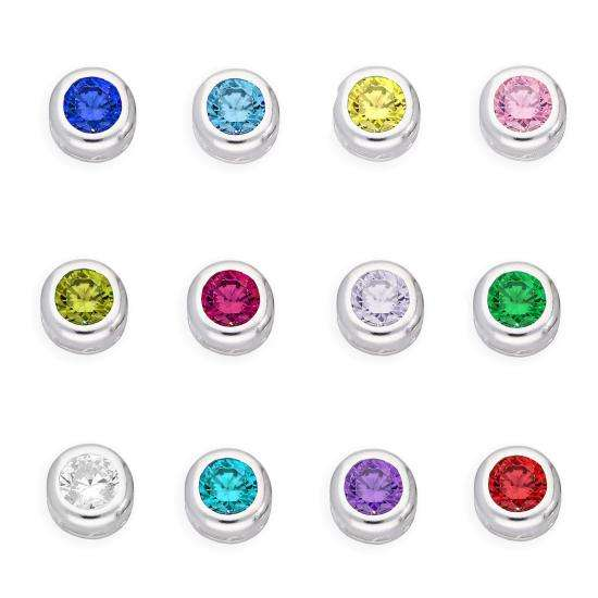 Sterling Silver & CZ Crystal Floating Birthstone Charms