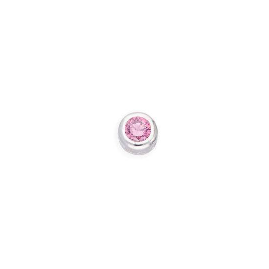 Sterling Silver & Pink CZ Crystal Round Floating Charm