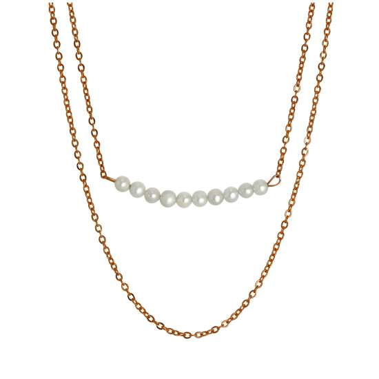 Rose Gold Plated Sterling Silver Double Chain String of Pearls Necklace 15 & 18 Inches