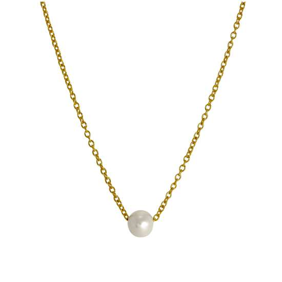 Gold Plated Sterling Silver Adjustable Choker to 18 Inch Pearl Necklace