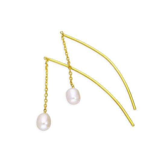 Gold Plated Sterling Silver & Pearl Arc Pull Through Earrings