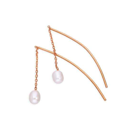 Rose Gold Plated Sterling Silver & Pearl Arc Pull Through Earrings