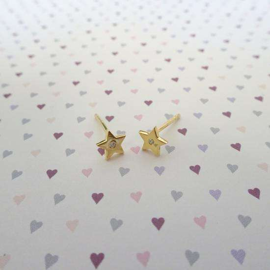 Gold Plated Sterling Silver & Genuine Diamond Star Stud Earrings