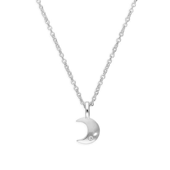 Sterling Silver & Genuine Diamond 18 Inch Moon Necklace