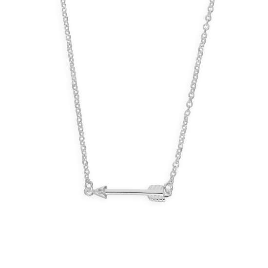 Sterling Silver & Genuine Diamond 18 Inch Arrow Necklace