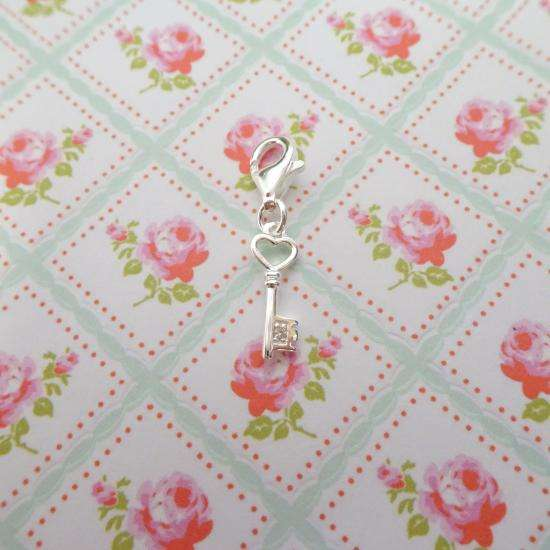 Sterling Silver & Genuine Diamond Heart Key Clip on Charm