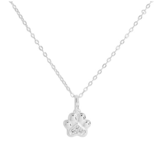 Sterling Silver & Genuine Diamond Pawprint Necklace