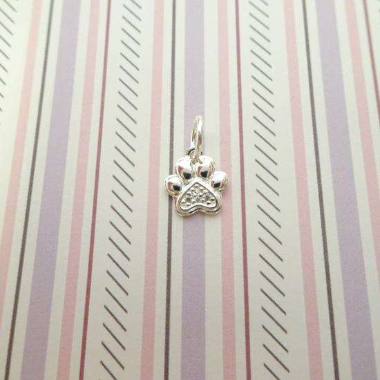 Sterling Silver & Genuine Diamond Pawprint Charm