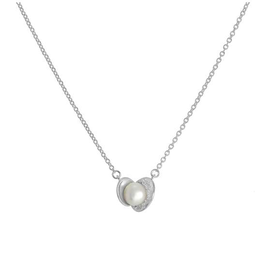 Sterling Silver Cultured Pearl Clam Necklace on 17 Inch Chain
