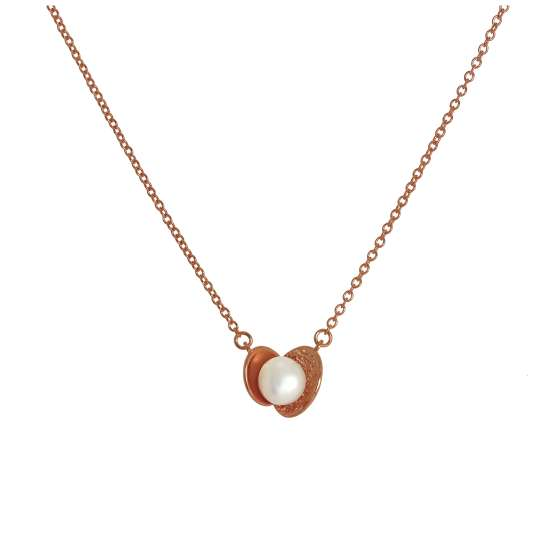 Rose Gold Plated Sterling Silver Cultured Pearl Clam Necklace on 17 Inch Chain