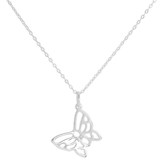 Sterling Silver & Genuine Diamond Open Butterfly Necklace