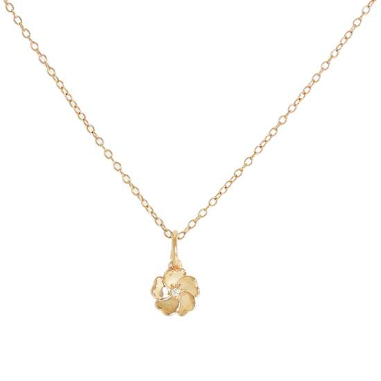 Rose Gold Plated Sterling Silver & Genuine Diamond Flower Necklace