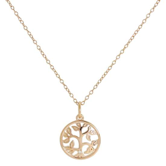 Rose Gold Plated Sterling Silver & Genuine Diamond Tree of Life Necklace