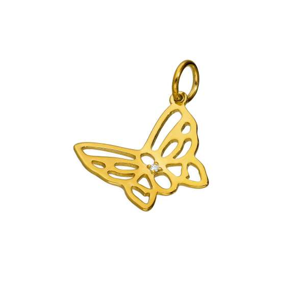 Gold Plated Sterling Silver & Genuine Diamond Open Butterfly Charm