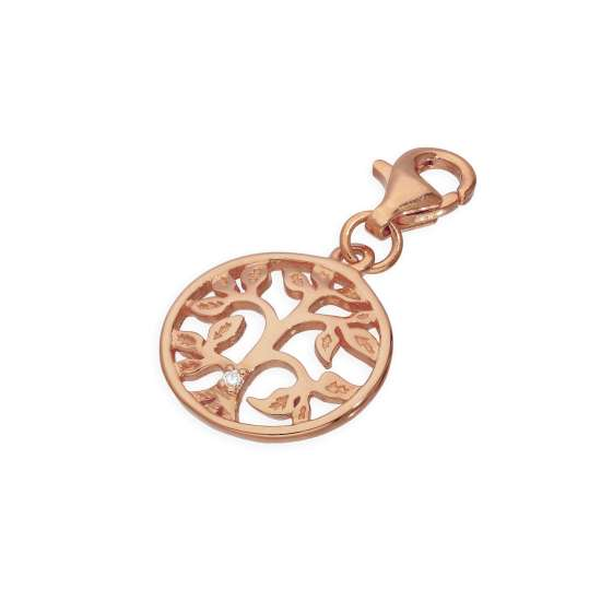 Rose Gold Plated Sterling Silver & Genuine Diamond Open Tree of Life Clip on Charm