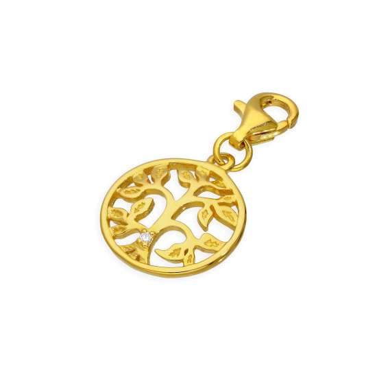 Gold Plated Sterling Silver & Genuine Diamond Open Tree of Life Clip on Charm