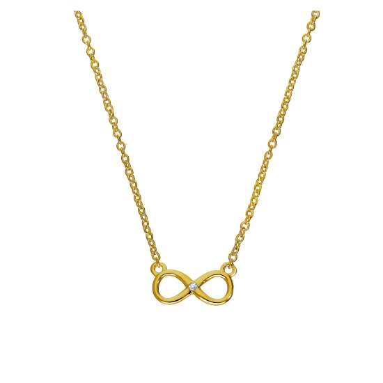 Gold Plated Sterling Silver & Genuine Diamond 18 Inch Infinity Symbol Necklace