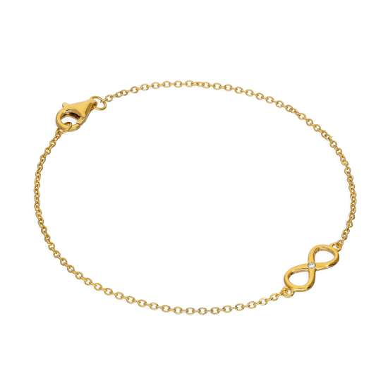 Gold Plated Sterling Silver & Genuine Diamond 7 Inch Infinity Symbol Bracelet