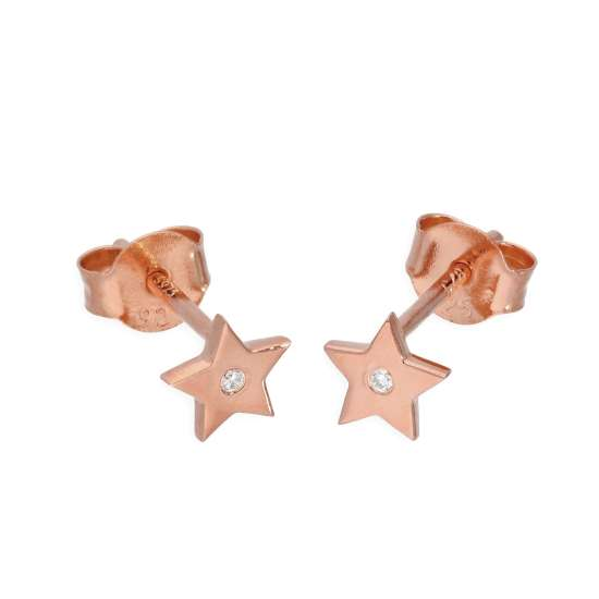 Rose Gold Plated Sterling Silver & Genuine Diamond Star Stud Earrings