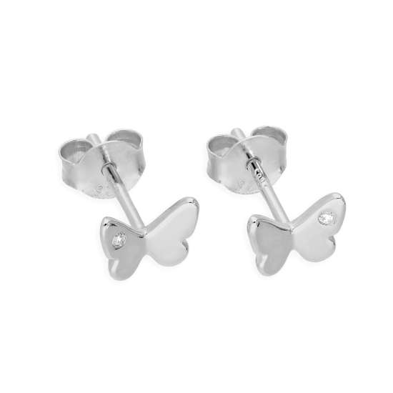 Sterling Silver & Genuine Diamond Butterfly Stud Earrings