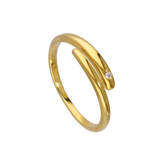 Gold Plated Sterling Silver & Genuine Diamond Adjustable Swirl Ring