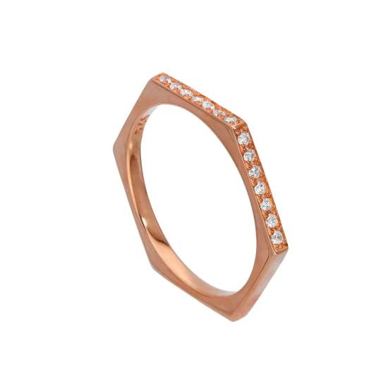 Rose Gold Plated Sterling Silver & Clear CZ Crystals Hexagon Ring Size O
