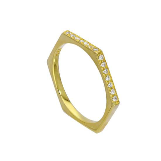 Gold Plated Sterling Silver & Clear CZ Crystals Hexagon Ring Size O
