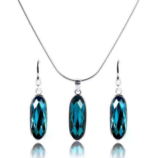 Sterling Silver Blue Crystal Oblong Pendant and Earrings Set