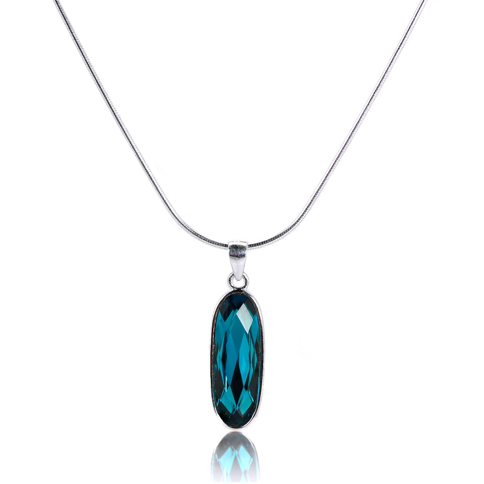 Sterling Silver Blue Crystal Oblong Necklace 16 - 32 Inches